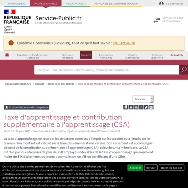 Taxe d'apprentissage (TA) - professionnels