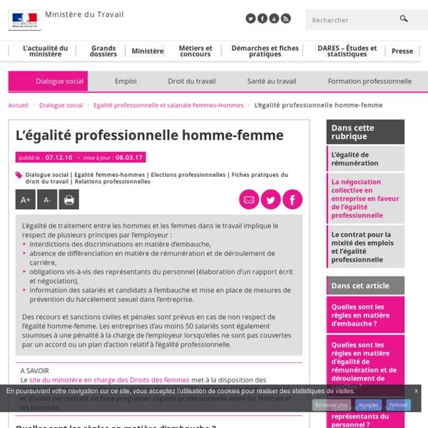 L'égalité professionnelle homme-femme - Egalité professionnelle et salariale Femmes-Hommes