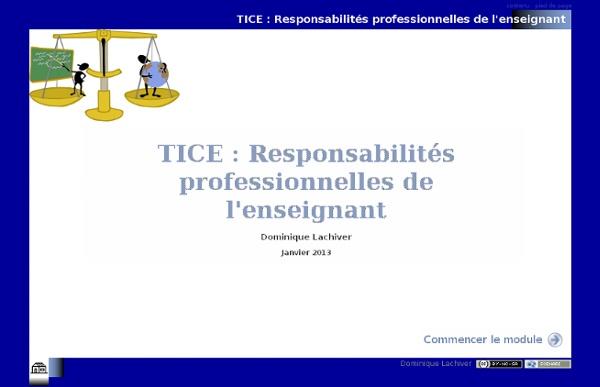 TICE: Responsabilités professionnelles de l'enseignant