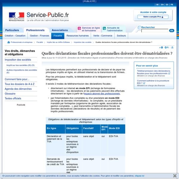 Quelles déclarations fiscales professionnelles doivent être effectuées en ligne?