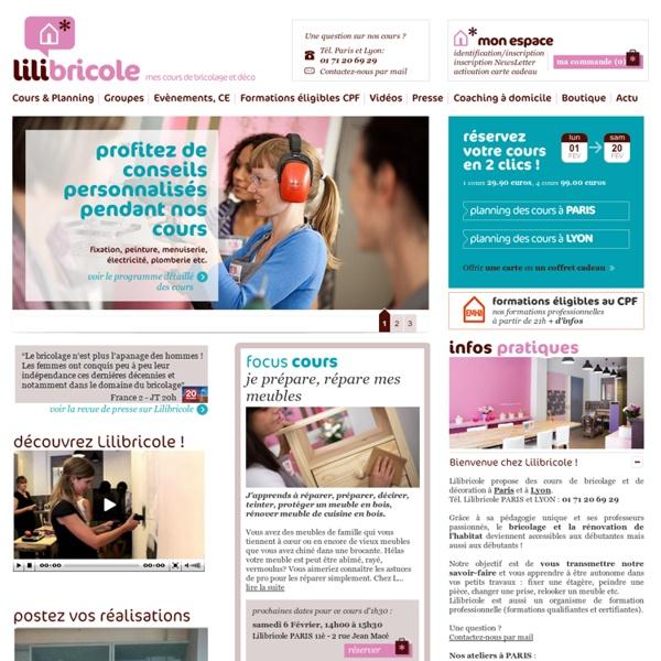 Cours de bricolage pour femmes, coaching déco, atelier bricolage Paris Lyon. Formations professionnelles certifiantes, peinture, menuiserie, électricité, relooking meuble