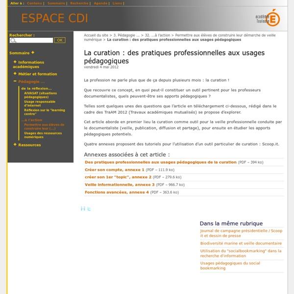 La curation : des pratiques professionnelles aux usages pédagogiques