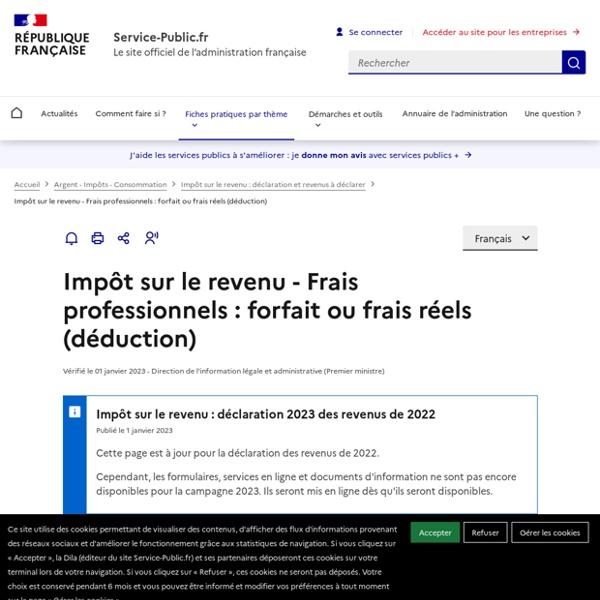 IR- Frais professionnels: forfait ou frais réels (déduction)
