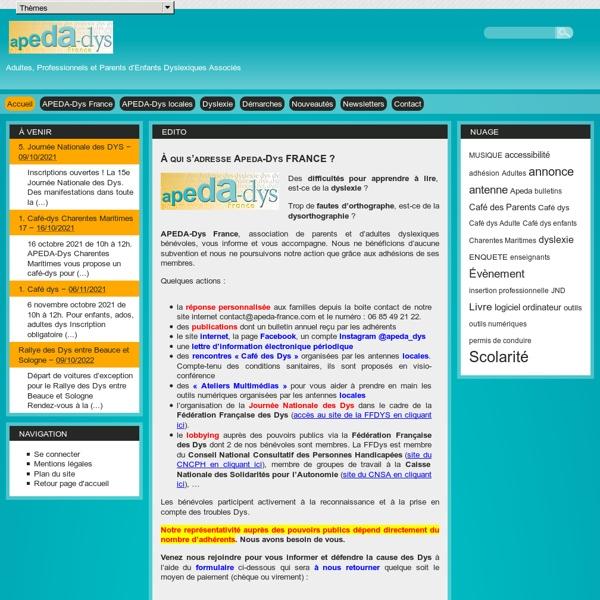 Apeda France - Association française de parents d'enfants en difficulté d'apprentissage du langage écrit et oral