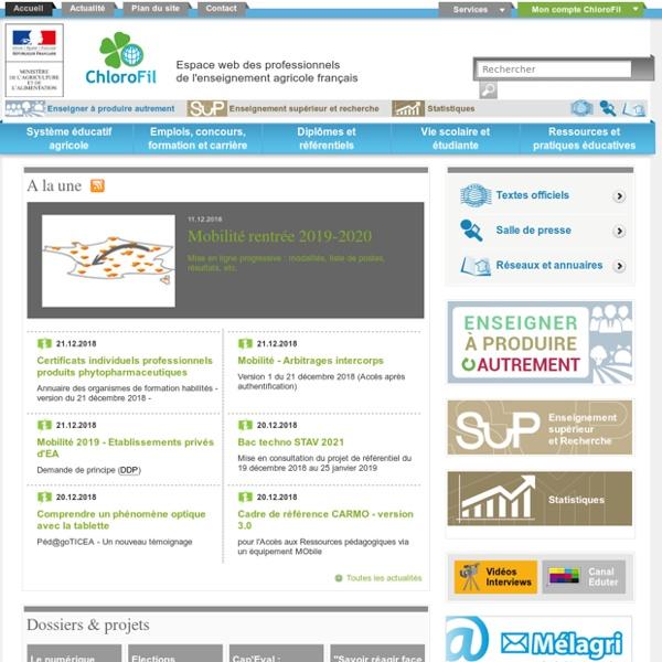 Chlorofil.fr Espace web des professionnels de l'enseignement agricole français