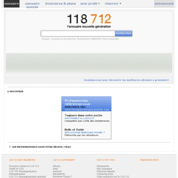 118712 : Annuaire entreprises, professionnels, particuliers, annuaire inversé, plans et itinéraires.