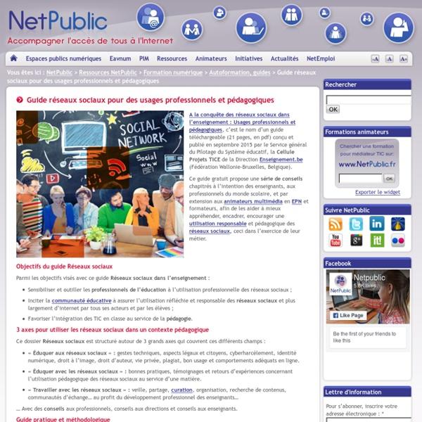 Guide réseaux sociaux pour des usages professionnels et pédagogiques
