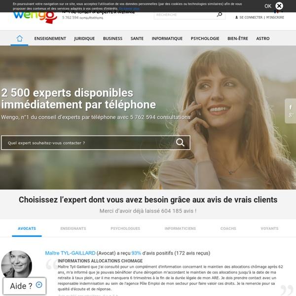 Conseils d'experts par téléphone sur Wengo : juridique, enseignement, informatique, voyance, loisirs, finance, business