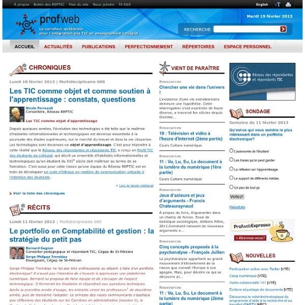Profweb : Accueil