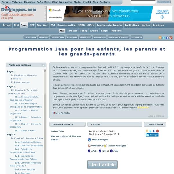 Programmation Java pour les enfants, les parents et les grands-parents