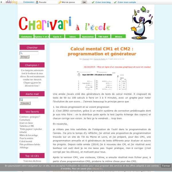 Calcul mental CM1 : programmation et générateur