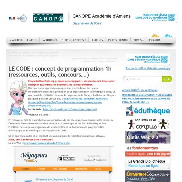 LE CODE : concept de programmation (ressources, outils, concours….)