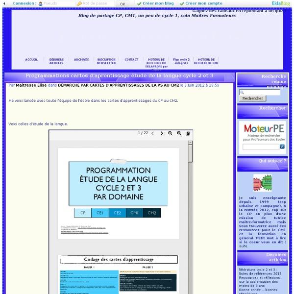 Cartes d'aprentissage étude de la langue cycle 2 et 3