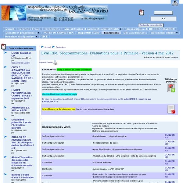 EVAPRIM, programmations, Evaluations pour le Primaire - Version 4 mai 2012 - [Circonscription de Décines]
