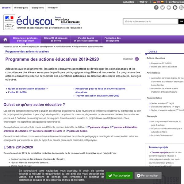 Programme des actions éducatives - Programme des actions éducatives 2019-2020