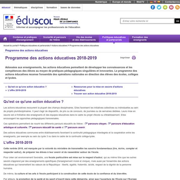 Programme des actions éducatives - Programme des actions éducatives 2018-2019