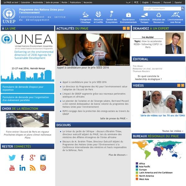 Programme des Nations Unies pour l'environnement (PNUE) - Page d'accueil
