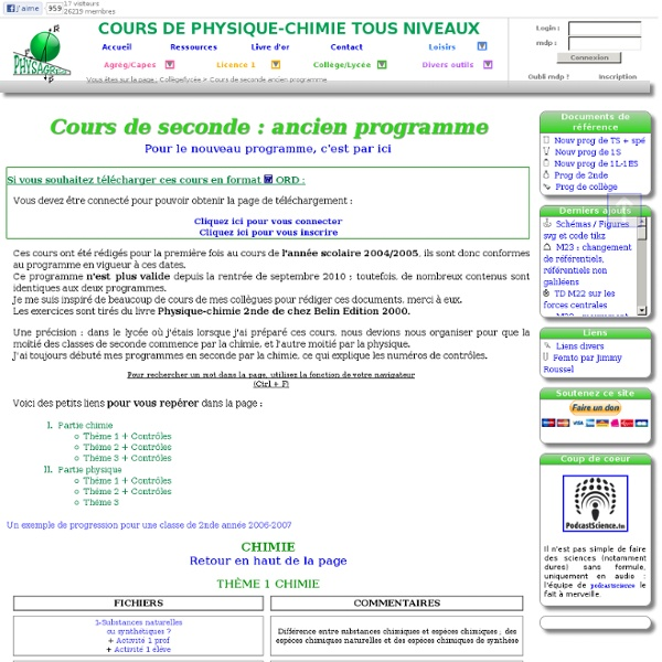 2nde physique chimie ancien programme: cours, TP, exercices, DS, contrôles : seconde