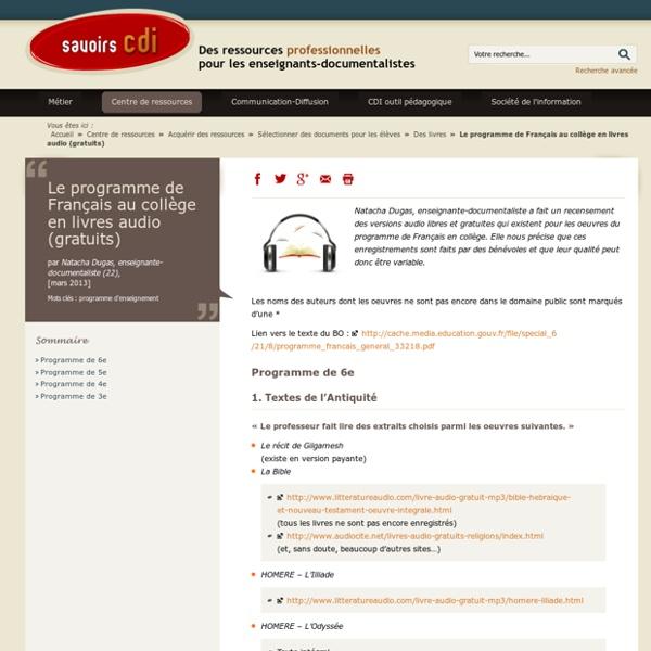 Le programme de Français au collège en livres audio (gratuits) - Iceweasel