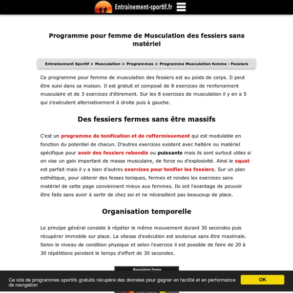 Bien-aimé Programme Musculation Fessiers | Pearltrees LM18