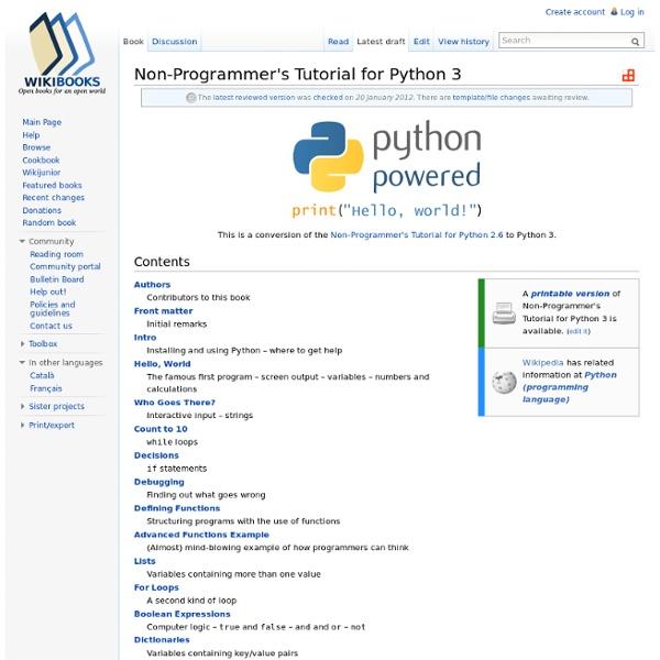 Non-Programmer's Tutorial for Python 3