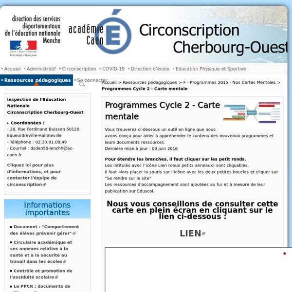 Programmes Cycle 2 - Carte mentale - Circonscription de Cherbourg Ouest