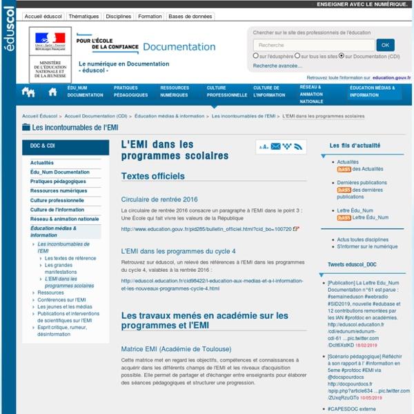L'EMI dans les programmes scolaires — Documentation (CDI)