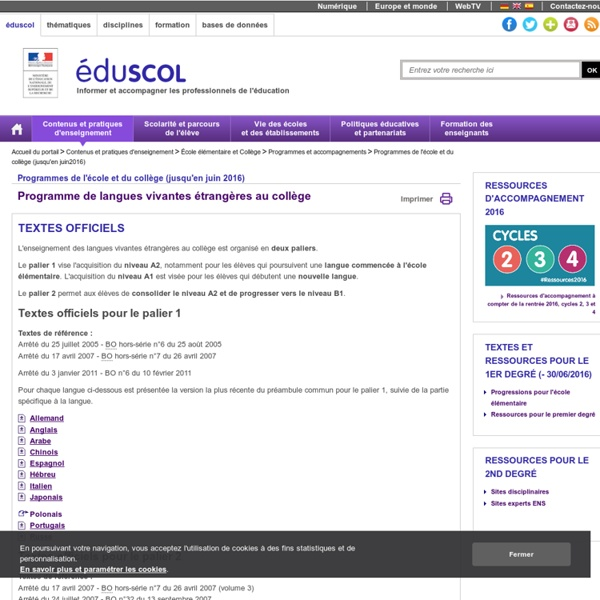 Programmes école-collège - Langues vivantes étrangères collège - ÉduSCOL