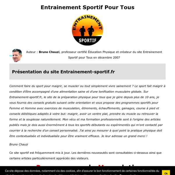 Entrainement sportif pour tous pearltrees - Programme tapis de course pour maigrir ...