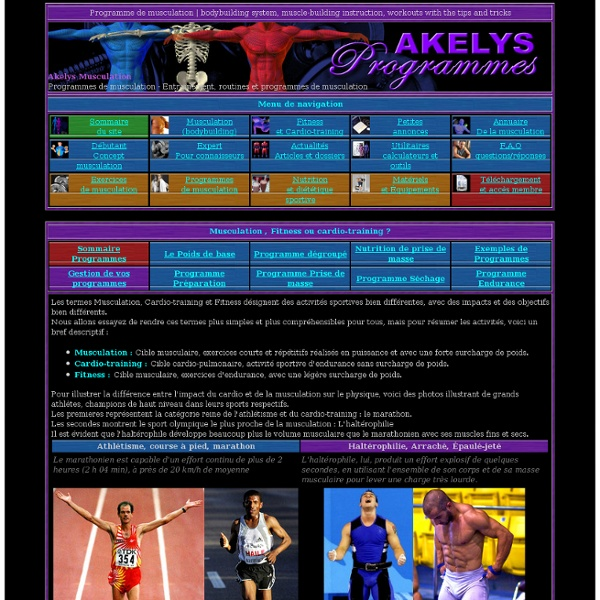 Programmes de musculation - Musculation , Fitness ou cardio-training ?