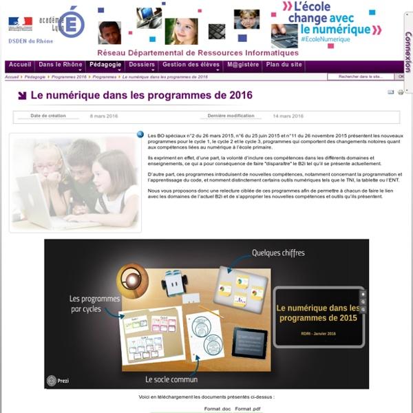 Programmes - Le numérique dans les programmes de 2016