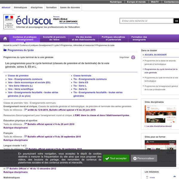 Programmes première et terminale générale (S ES L)
