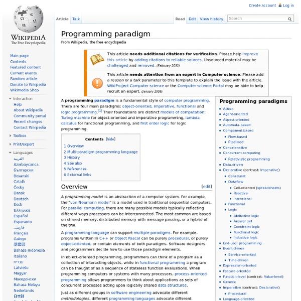 Programming paradigm - Wikipedia, the free encyclopedia - Profile