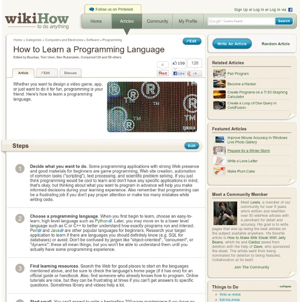 How to Learn a Programming Language