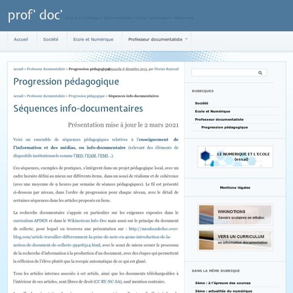 Progression pédagogique - prof' doc'