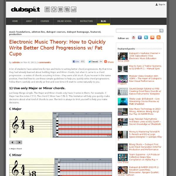 Electronic Music Theory: How to Quickly Write Better Chord Progressions w/ Pat Cupo