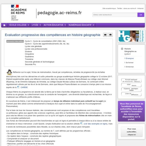 Enseigner Hist-Géo cycle 4 - Evaluation progressive des compétences en histoire géographie