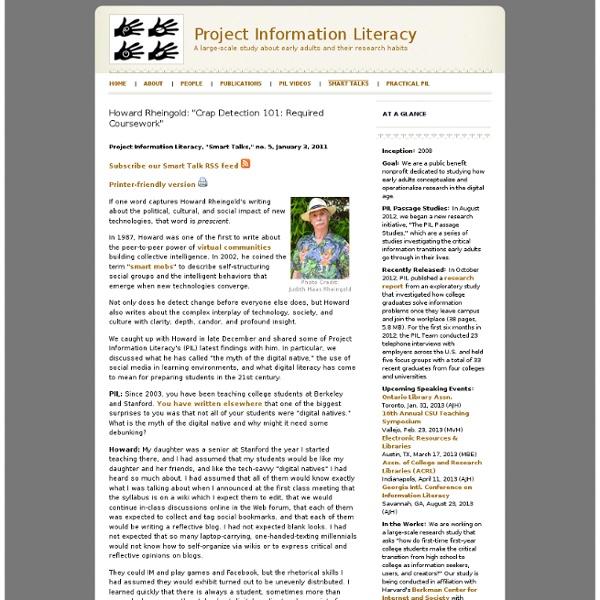 Project Information Literacy: Smart Talks