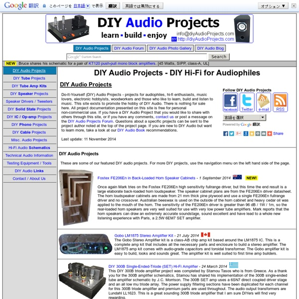 DIY AUDIO PROJECTS - Do-It-Yourself Hi-Fi for Audiophiles