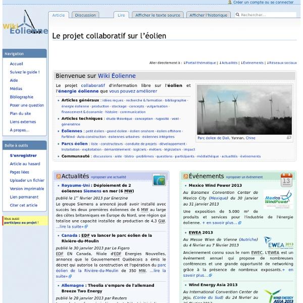 Wiki Éolienne, projet collaboratif sur le thème de l'éolien