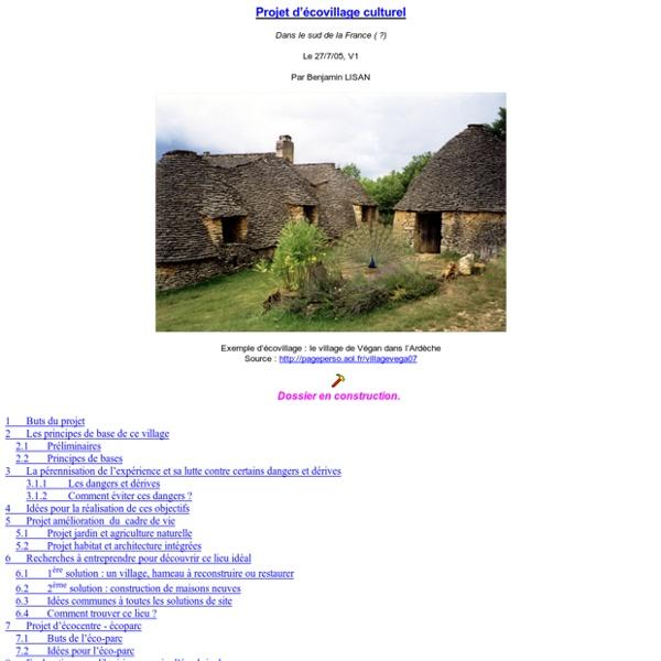 Projet d'écovillage culturel