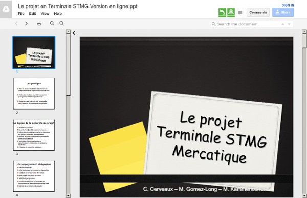 Diapo : Le projet en Terminale STMG Version en ligne
