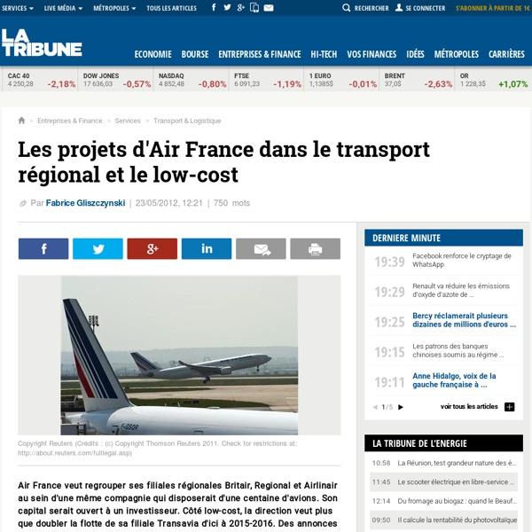 Les projets d'Air France dans le transport régional et le low-cost