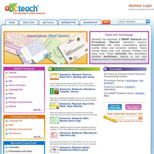 Lecciones de SMART Notebook, rotafolios Promethean y otro material interactivo