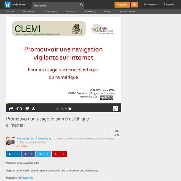 Promouvoir un usage raisonné et éthique d'internet