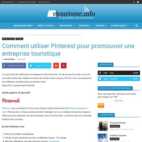 Comment utiliser Pinterest pour promouvoir une entreprise touristique « etourisme.info - Aurora