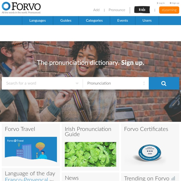 Forvo: the pronunciation guide. All the words in the world pronounced by native speakers