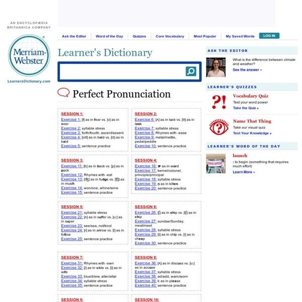 Perfect pronunciations exercises