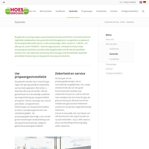 Propaangastanks en propaangasinstallaties - Hoes Errogas Nijmegen