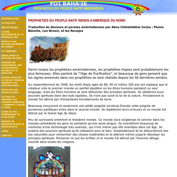 PROPHETIES DU PEUPLE NATIF AMERINDIEN